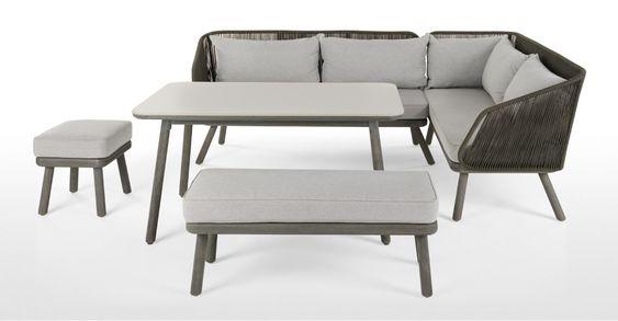 Alif Garten Essgruppe Beton Und Eukalyptus In Grau Corner Dining Set Dining Set Furniture