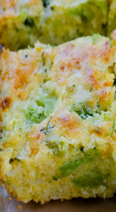 Broccoli Cornbread Squares _ Get your fill of broccoli in this mildly sweet broccoli cornbread recipe – comfort food side dish at it's best! Have your broccoli and eat it, too! This is a fun recipe that spins from the traditional cheesy cornbread & adds a serving of veggies. With cottage cheese in the mix, you have your dairy, too!