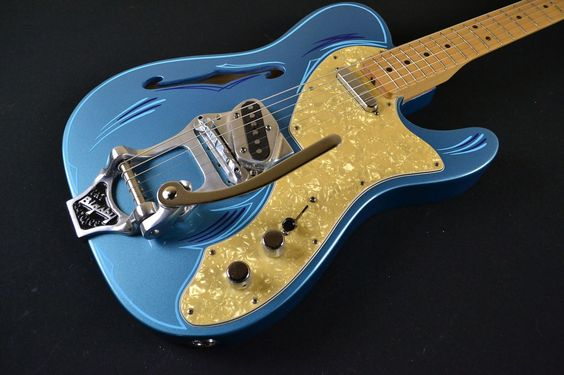 Fender Telecaster Thinline - '69 reissue w/ Custom Pinstripe & Bigsby - Lake Placid Blue - USED - Tundra Music INC Vintage Guitars Store & More Toronto