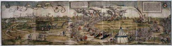 Einzug Kaiser Karls V. in München am 10. Juni 1530; im Hintergrund das Panorama von München von Osten. Holzschnitt von Sebald Beham