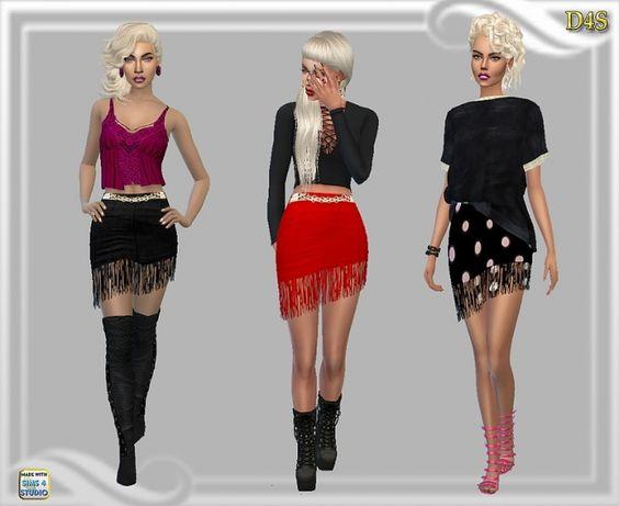 Fringe mini skirt at Dreaming 4 Sims via Sims 4 Updates Check more at http://sims4updates.net/clothing/fringe-mini-skirt-at-dreaming-4-sims/