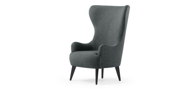 Bodil ist ein Sessel mit extra hoher Lehne in Grau von MADE.