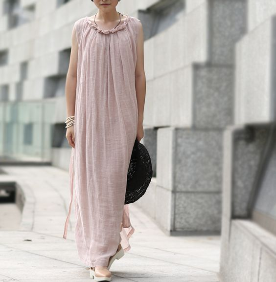 pink linen dress,with a linen belt,sleeveless,2 layer,elegance,summer.  http://www.aliexpress.com/store/product/SIMPLE-LIVING-Pink-women-Maxi-loose-fitting-Linen-long-dress-gown-original-design-elegance-graceful-sleeveless/1247503_1934759678.html