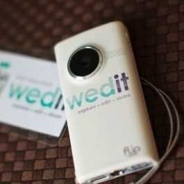 Wedit sends the wedding couple 5HD cameras in the mail 3 days before the wedding weekend. The couple passes them out to the wedding guests throughout the festivities to record the couple returns cameras to Wedit to edit. Wedit then edits the footage into a video.---way cool!