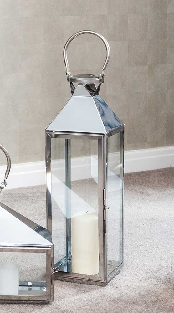 Tall Chrome Lantern Candle Holder