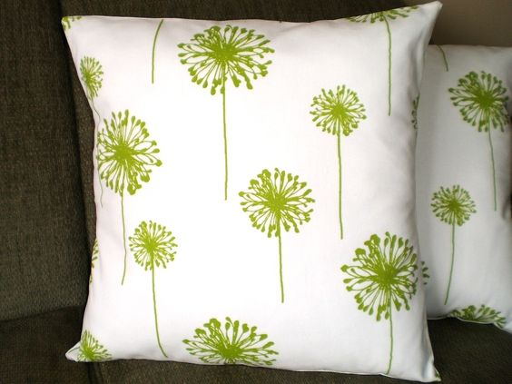 Decorative Pillows Accent Pillows, Throw Pillow Cushion Covers Lime Green White Dandelion - Two 16 x 16. $28.00, via Etsy.