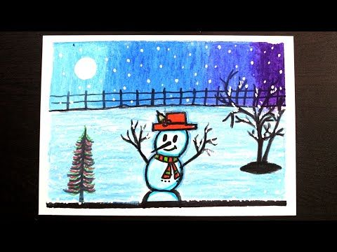 Christmas Drawing Drawing With Oil Pastel Scenery Drawing For Christmas Youtube Christmas Drawing Oil Pastel Oil Pastel Drawings