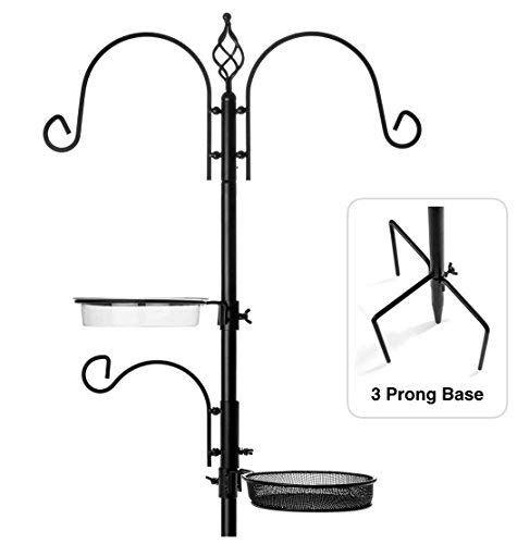 Rhino Tuff Products Bird Feeder Stand Deluxe Bird Feeders For Outside Feeding Station With 3 Prong Base And Water Dish Ideal For Bird Watching Garden Patio Bird Feeder Stands Bird Feeders