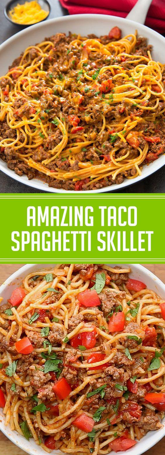 Amazing Taco Spaghetti Skillet #taco #spaghetti