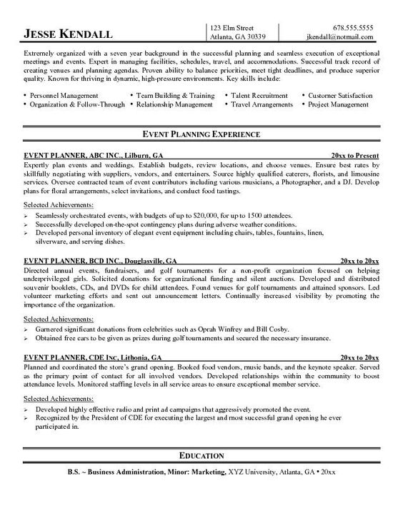 Events Coordinator Resume Pleasing Professional Curriculum Vitae Samples  Edyson  Pinterest