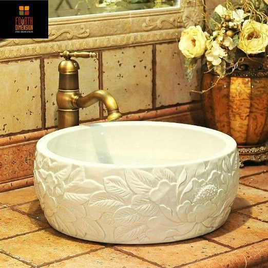 Artistic Porcelain Handmade Embossed Ceramic Lavabo Bathroom