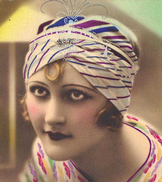 Turbaned Flapper with Penetrating Gaze by redpoulaine on Etsy, $18.00: