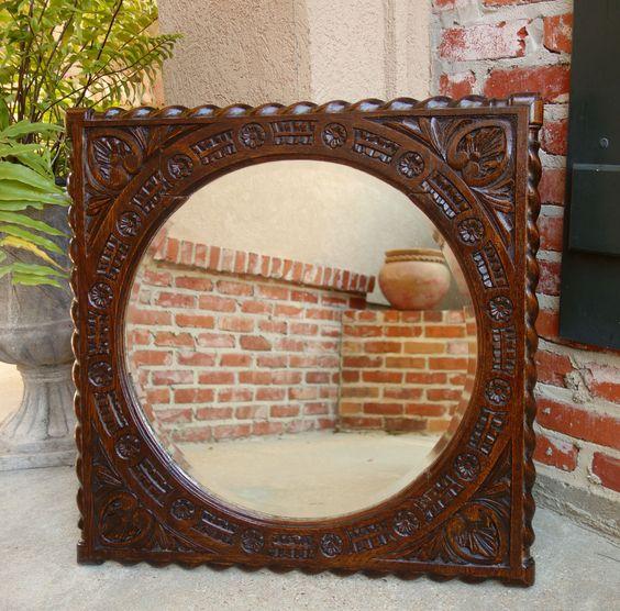 Antique English Carved Dark Oak Beveled Round Wall Mirror