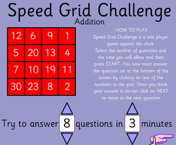 Speed Grid Challenge  Addition Level 1 You get to decide how many problems, and how fast. See if you can do better than you think.