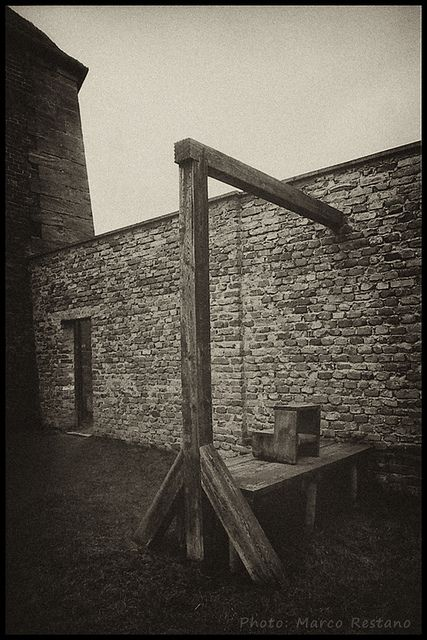 Gallows - Small Fortress at Theresienstadt (Terezin) former Gestapo prison, Feb. 2012    The noose was used once for the execution of 3 prisoners.: