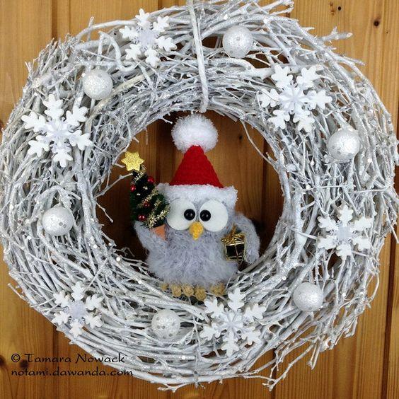 Weihnachtskranz mit Eule von Owl Tales auf DaWanda.com