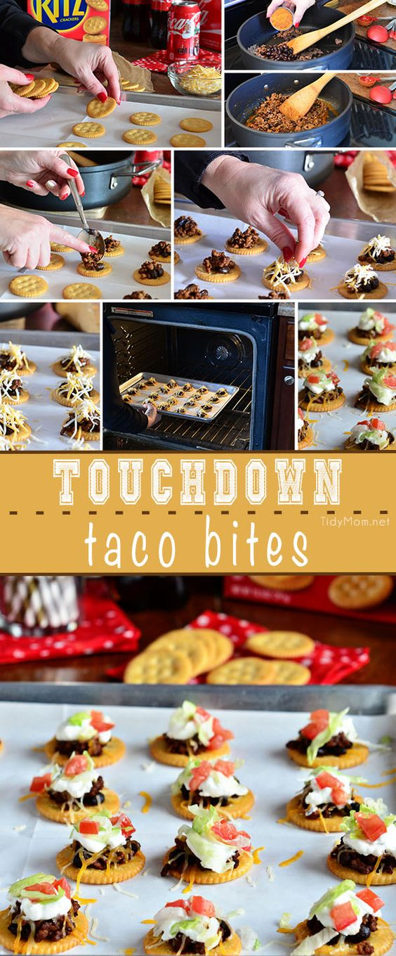 Touchdown Taco Bites are a simple appetizer recipe perfect for sunday football parties.  Get the easy recipe at TidyMom.net