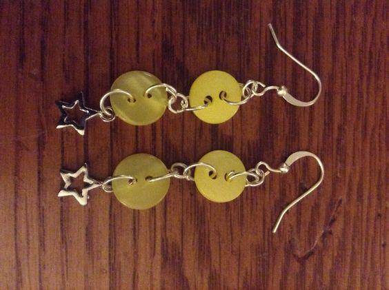 Yellow button star earrings