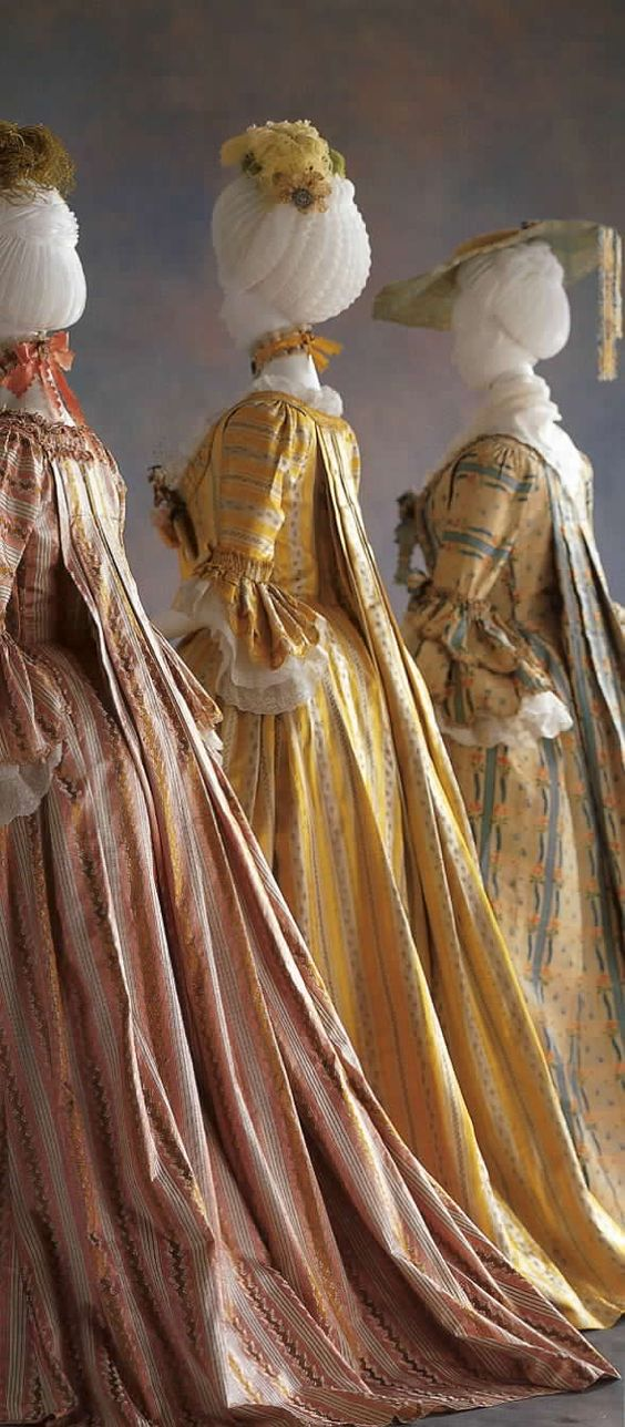 Breathtaking beauty & sumptuous luxury in three 18th c silk sack back gowns. Image says all!  @KyotoCostumeInstitute