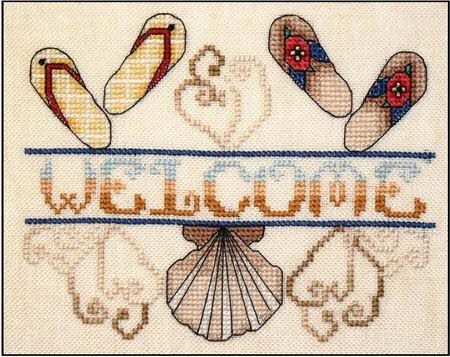 Cross Stitch Craze: Flip Flop Beach Fun Cross Stitch Welcome