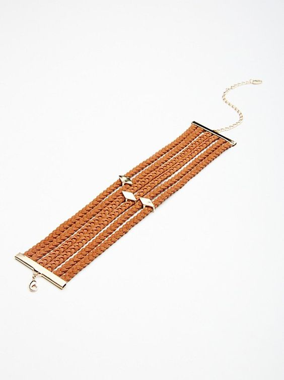 FREE PEOPLE Stacked Braided Suede Leather Choker (Rust/Gold)