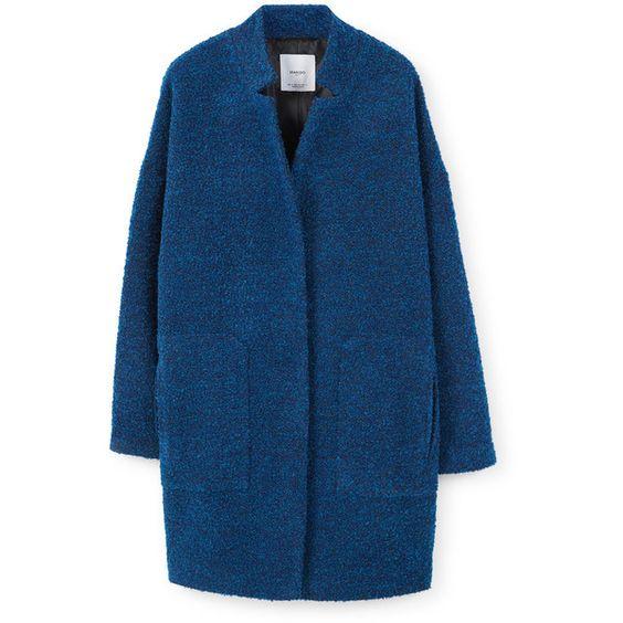 Bouclé Coat (£80) ❤ liked on Polyvore featuring outerwear, coats, long sleeve coat, mango coat, blue coat and boucle coat