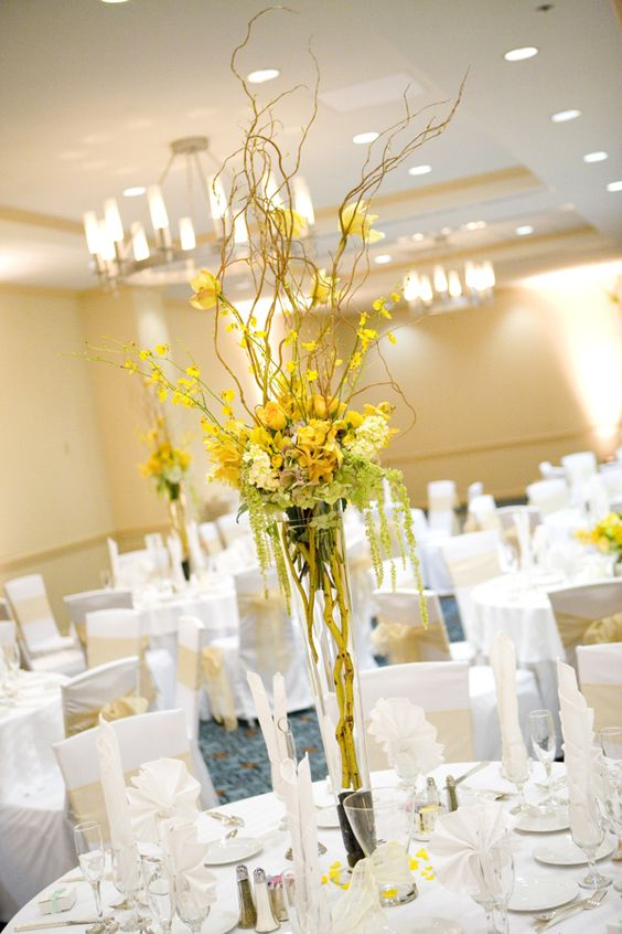 flower decoration for wedding reception yellow reception wedding flowers wedding decor wedding 4160