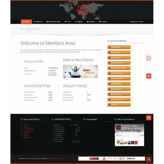 hyip design templates user page