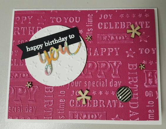 Birthday card embossing folder and SSS you matter stamp and lawn fawn plaid paper