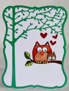 This card was stamped with Hero Arts Lil Hoot and animals were coloured with Copics. The die cuts are from Memory Box Orchard Tree Frame (98300) & Debutante Frame (98297)