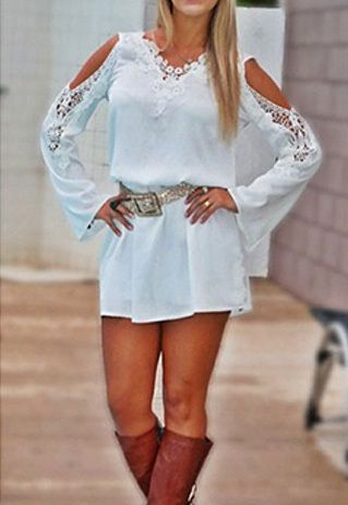 Sexy Off-shoulder Lace Spliced Long Sleeve Dress