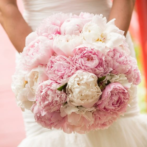 Can't go wrong with a pretty pink & white peony bouquet! // Richard Ellis Photography // http://www.theknot.com/weddings/album/a-classic-southern-wedding-in-charleston-sc-142853