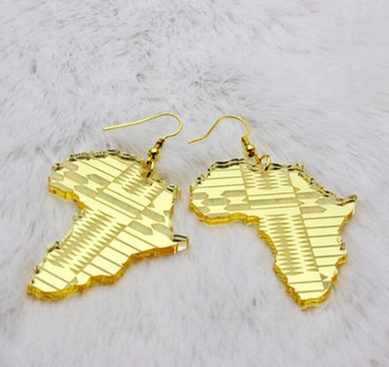 Trendy Jewelry Hip Hop Club Accessories Gold Acrylic Africa Map Earrings For Women Afro-trends-worldwide.com  #africandesign #africanfashion #africandress #africanwoman #madeinafrica #africanfashiontrends #africalovers #afrofashion #afrotrends #africanbeauty