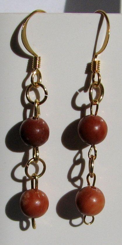 1 Red Onyx Beads Dangle Drop Earrings Earrrings Red by nonie615, $4.99