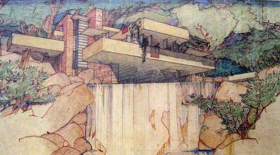 Falling Water: Perspective from below waterfall (Images courtesy of The Frank Lloyd Wright Foundation)