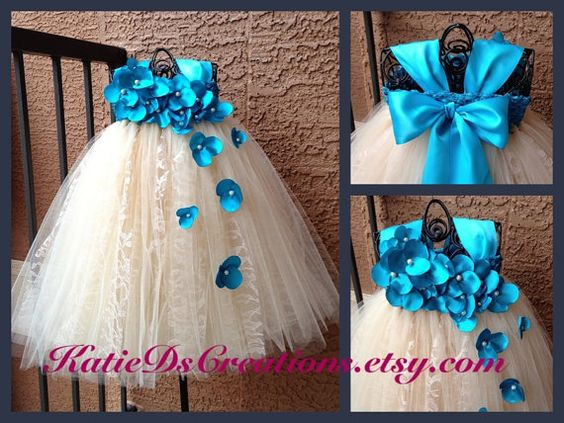 Turquoise and Champagne Lace Flower Girl Tutu by KatieDscreations, $100.00
