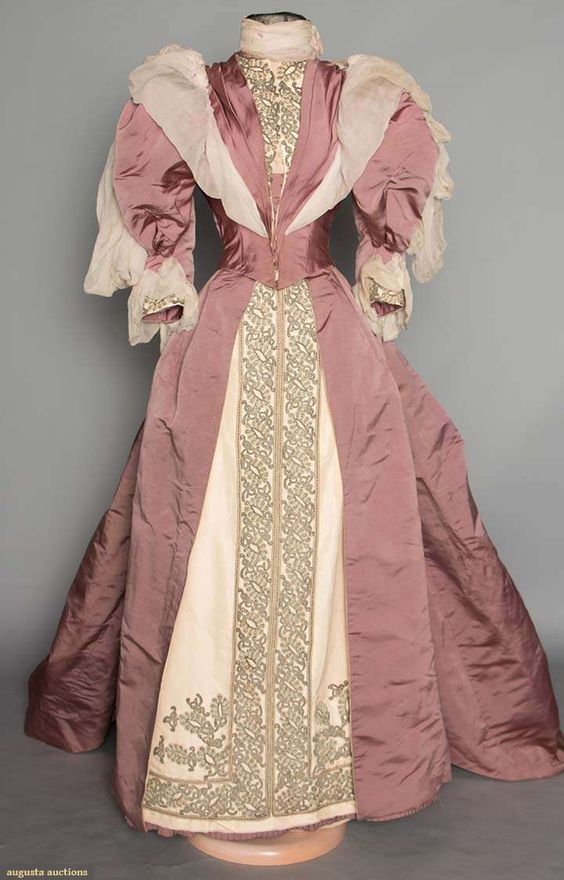 Reception Gown (image 1) | 1890s | silk faille, pearls | Augusta Auctions | November 12, 2014/Lot 73