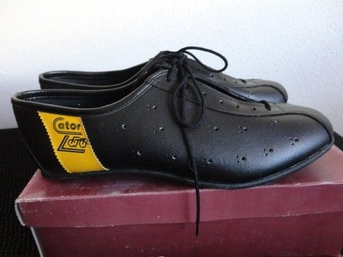 Nos Nib 70 S 80 S Vintage Cycling Shoes Hand Made Leather 44 Size