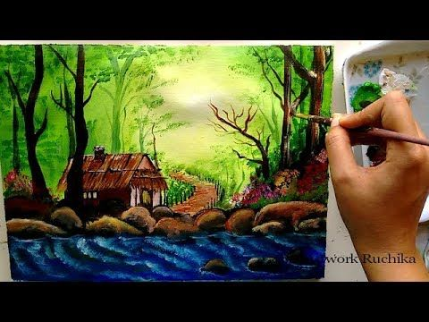 Jungle Hut With Sparkling Streams Scenery Acrylic Painting Tutorial Mountain Painting Acrylic Painting Acrylic Painting