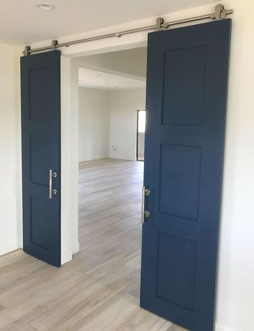 Navy Blue Double Barn Doors Hardware Too Custom Barn Doors Double Barn Doors Sliding Bedroom Doors
