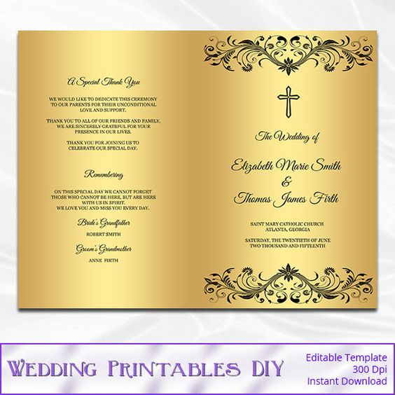 Catholic Wedding Program Template, Diy Black And Gold Foil