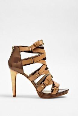 Tan Leonia Strap Ankle Sandal by MICHAEL Michael Kors