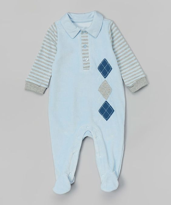 Look at this Quiltex Skyway Argyle Velour Footie on #zulily today!
