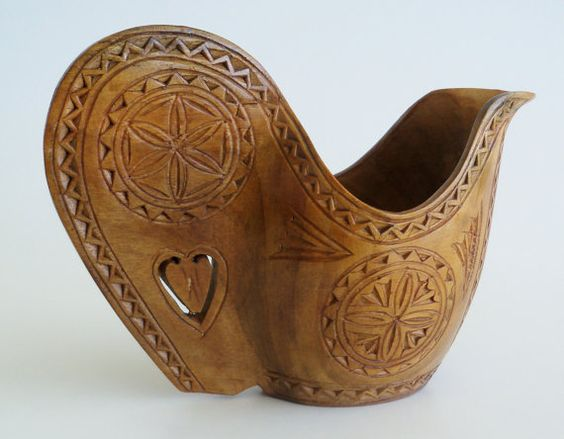 Carved Wood Yugoslavian Wedding Cup by SunshineSurprises on Etsy