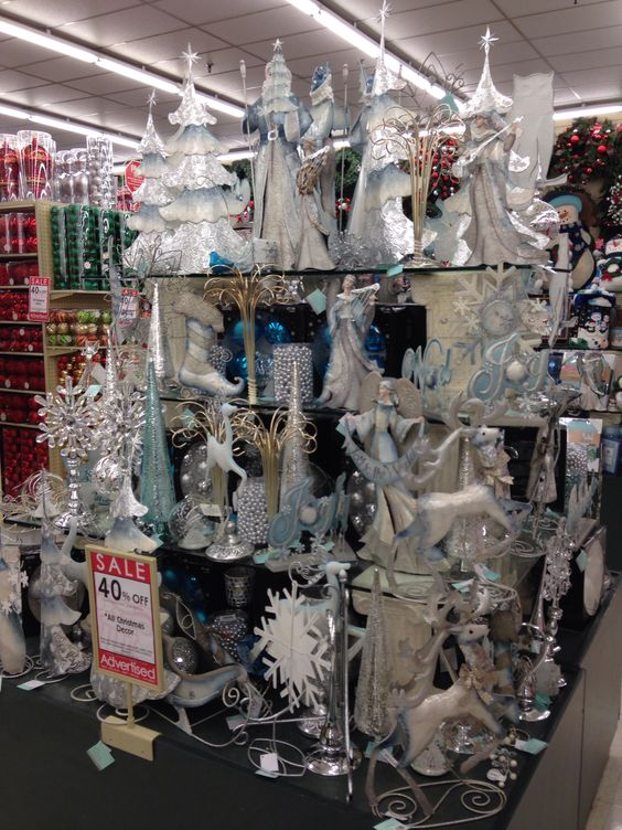 Blue and silver Christmas decor from Hobby Lobby  Holiday Cheermeister  Pin...