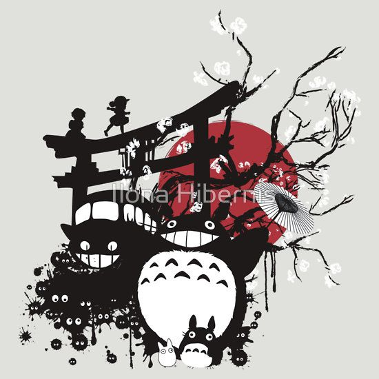 Japan Spirits Fitted V Neck T Shirt By Ilona Hibernis ジブリ イラスト クリスマス パターン 壁紙 ジブリ