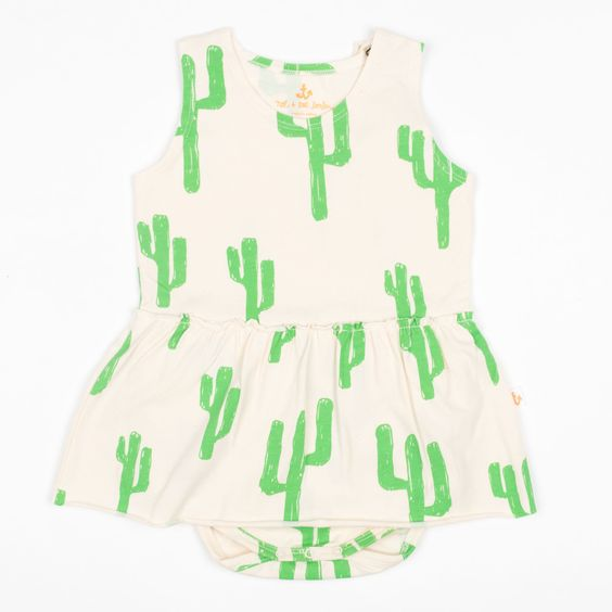 Noe and Zoe Green Bodysuit with Cactus Print and Skirt