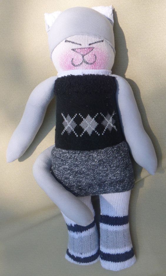 Sock Doll Kitty for essemdee from Upcycled Socks by CyndiLou, $20.00