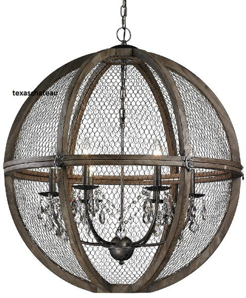 Large 30 French Farmhouse Wood Chicken Wire Crystal Sphere Chandelier Pendant Loft Tuscan Chandelier Wire Chandelier Aging Wood