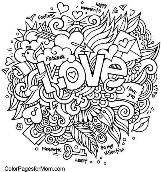 Doodles coloring and coloring pages on pinterest for Love mandala coloring pages
